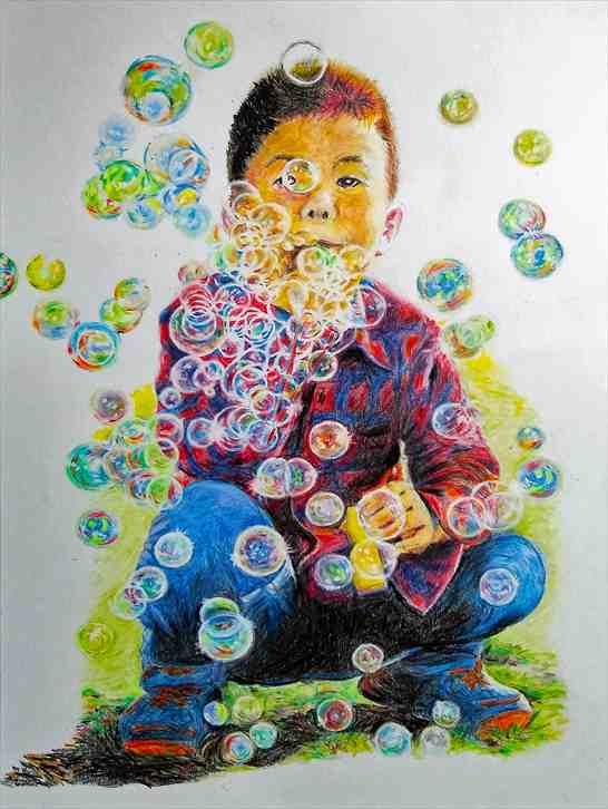 鉛筆画「シャボン玉を吹く少年」